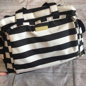 JUJUBE Black & White Stripe Baby Bag & Attachments